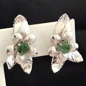 Vintage Sterling Silver Earrings Jade Screwback 2H